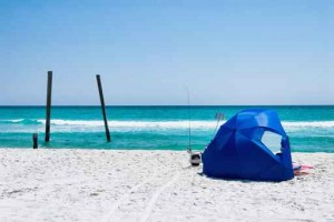 Gulf of Mexico along the Emerald Coast with Beach Tent